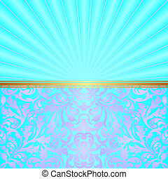 turquoise background with abstract ornaments