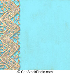 turquoise background with lace trim, copy space for text or...