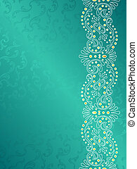 Turquoise background with margin of delicate swirls - ...