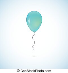 Turquoise balloon isolated on white background