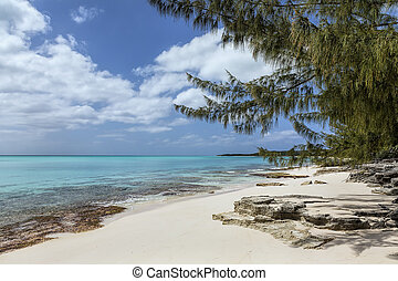 A beautiful bay with turquoise water and a rocky shoreline in the Orange Creek area of Cat Island, Bahamas.