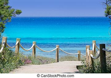 turquoise, beachn, île, formentera, illetas, illetes