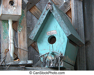 Turquoise Bird Haven - This rustic, turquoise bird house...