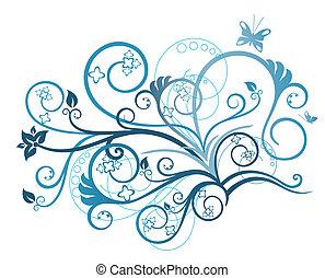 turquoise, blomstret konstruktion, element