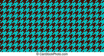 Turquoise Blue Brown Seamless Houndstooth Pattern Background. Traditional Arab Texture. Fabric Textile Material.