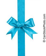 turquoise bow isolated on white background