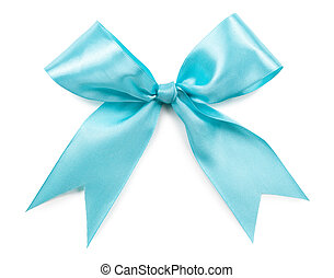 turquoise bow isolated on white