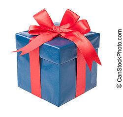 Turquoise box with a gift and a red bow isolated on white background