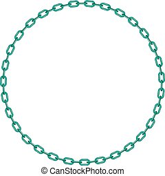 turquoise, cercle, forme, chaîne