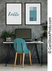 Turquoise chair in gray interior - Turquoise chair, desk,...