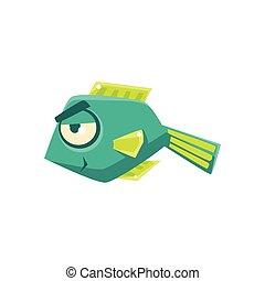 Turquoise Cheeky Fantastic Aquarium Tropical Fish Cartoon Character