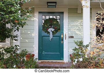 Turquoise Christmas Door