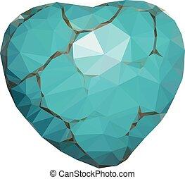 turquoise, coeur, géométrique