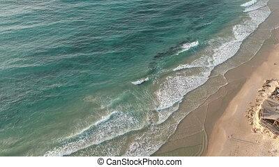 turquoise, coloré, sommet, eau, vagues, vue