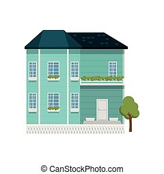 Turquoise color two-story house with balcony isolated on ...