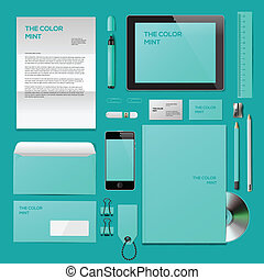 Turquoise Corporate ID mockup - Business corporate ID...