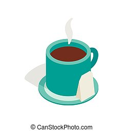 Turquoise cup of tea icon, isometric 3d style