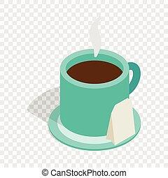 Turquoise cup of tea isometric icon