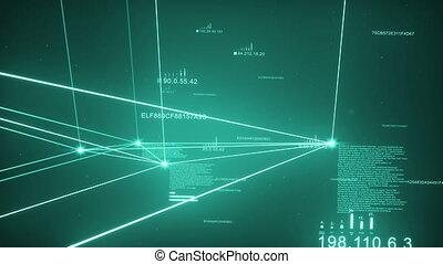 Turquoise Dark Plexus Network Loopable - Computer Network,...