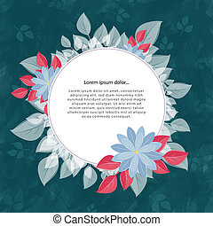 turquoise, fleur, cadre, texte, rond