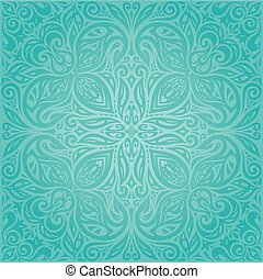 Turquoise  floral holiday vintage background mandala design