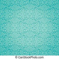 Turquoise  floral vintage background design