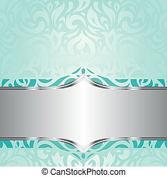 turquoise, fond, retro, floral