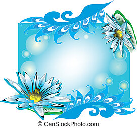 Turquoise frame with lilies