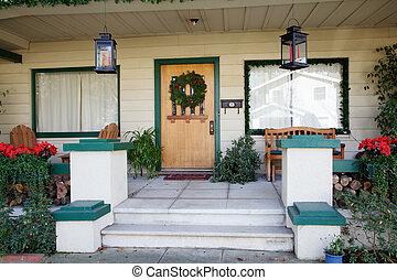Turquoise Framed Christmas Door