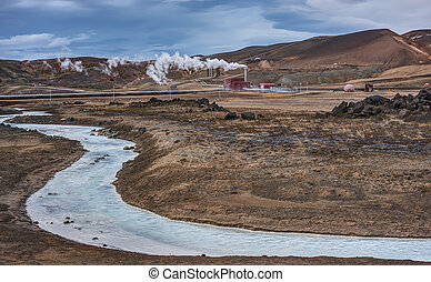 Turquoise Geothermal River and Power Station - Iceland