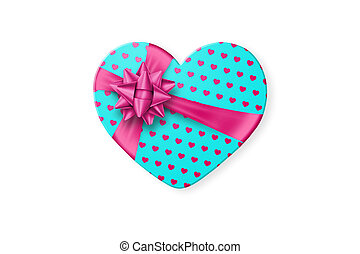 Turquoise gift box in the shape of a heart with a festive pink bow isolated on white background. Romance, Valentine's Day, love.