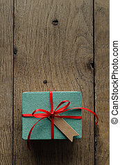 Turquoise Gift Box with Red Ribbon and Vintage Style Blank Tag