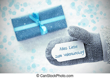 Turquoise Gift, Glove, Valentinstag Means Happy Valentines...