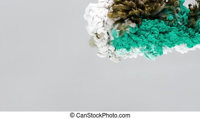 Turquoise, Gold and White Ink in Water