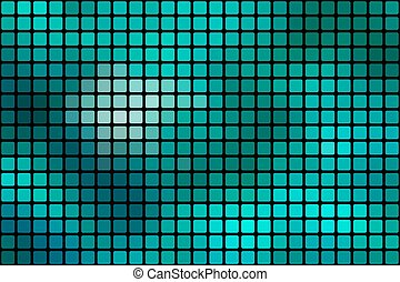 Turquoise green abstract rounded mosaic background over black