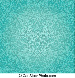 Turquoise green blue floral vintage invitation background