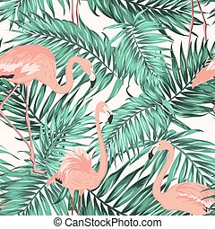Turquoise green tropical leaves flamingo pattern