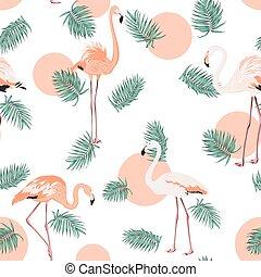 Turquoise green tropical pink flamingo sun pattern