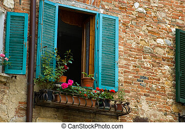 turquoise, italien, volets, village