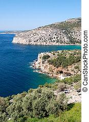 Turquoise lagoon of Aegean Sea, Thassos island, Greece