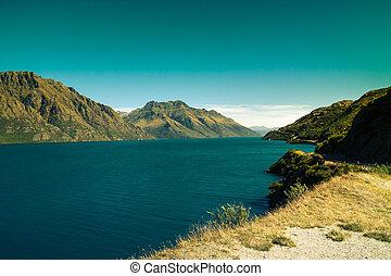 turquoise, landskab, ind, nyt sjælland