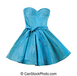 Turquoise leather evase strapless belted dress isolated on...