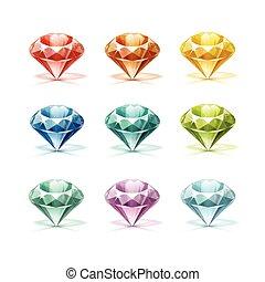 turquoise, lilas, diamants, pourpre, bleu, rouge vert, jaune, coloré, orange