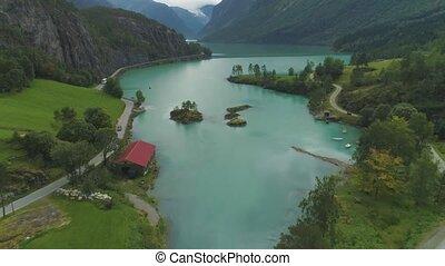 turquoise lovatnet lake beautiful landscape