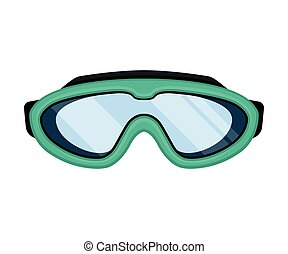Turquoise mask for swimming. Vector illustration on white background.