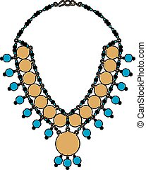 Turquoise necklace - Vector illustration of jewelry, EPS 8 ...