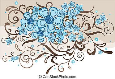 turquoise, og, brun, blomstret konstruktion