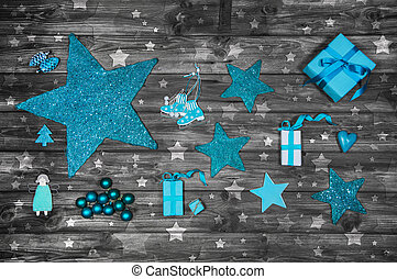 Turquoise or blue christmas decoration on wooden shabby chic bac