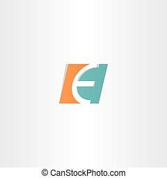 turquoise orange letter e logo icon element
