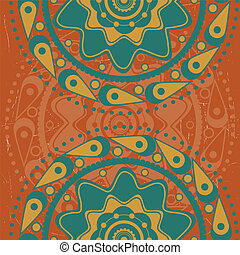 Turquoise ornament on orange background